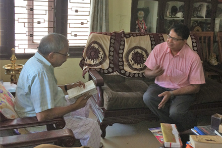 Presenting My Book on FSM to MT Vasudevan Nair, Iconoclast, Filmmaker and Writer at his Kozhikode Home.